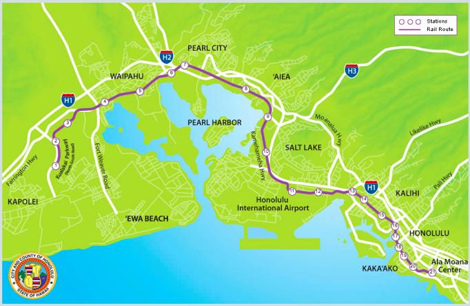 ハワイの電車路線図