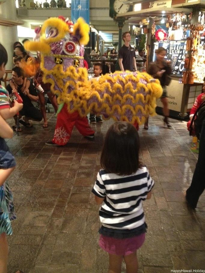 アラモアナセンターでの獅子舞