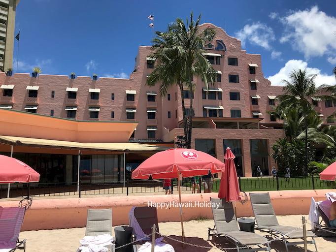 ロイヤルハワイアンホテルのJALのビーチパラソル
