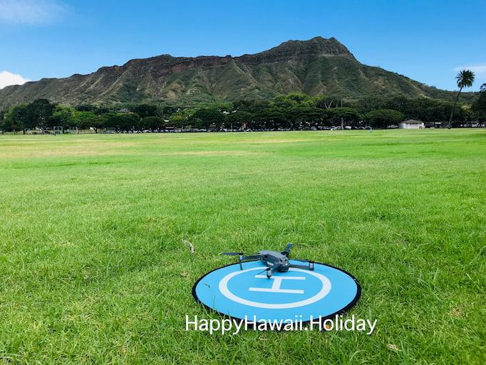 ハワイのカピオラニ公園でドローンが離陸