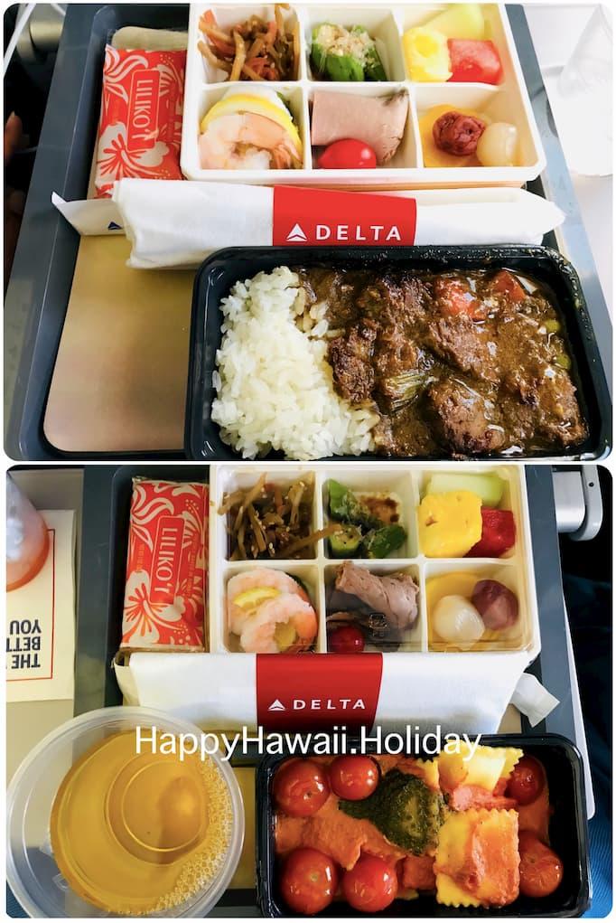 デルタ航空のハワイ便の機内食1(復路)